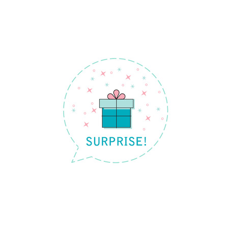 Surprise gift box in balloon icon or greeting holiday card. Flat design. Vector background