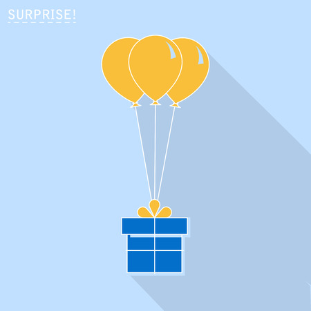 Gift box with balloon icon or greeting holiday card. Flat design. Vector background Illustration