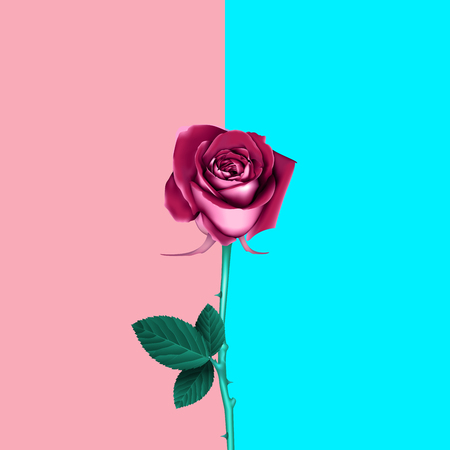 Rose in vibrant gradient holographic neon colors. Concept pop art. Minimal surrealism background.