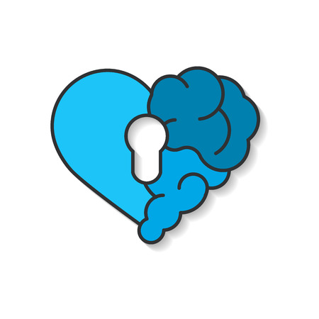Emotional brain lock security. Broken Heart and Brain with key hall vector flat modern icon logo vector design. Interaction between soul key for intelligence, emotions, loneliness, divorce, broken rel  イラスト・ベクター素材