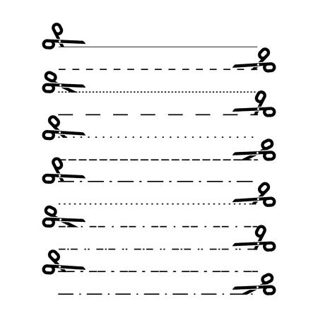 Scherenvektoren mit Schnittlinien, Punkt, gestrichelten Linien. Trennlinien-Ausschnitt. Vektor