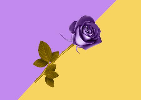 Rose in vibrant gradient holographic neon colors. Concept pop art. Minimal surrealism background.