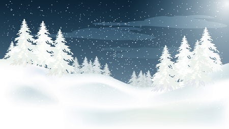 Beautiful panorama winter landscape with snow on the trees in the mountains, vector Vetores