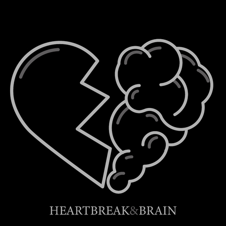 Heartbreak vector. Broken Heart and Brain flat modern icon logo vector design. Interaction between soul and intelligence, emotions, loneliness, divorce, broken relationship, rational thinking