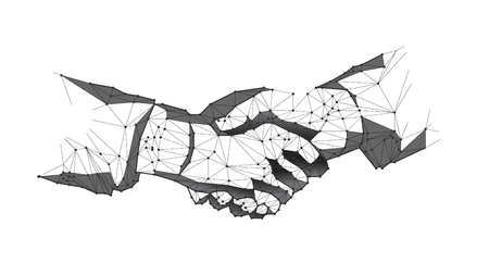 Abstract virtual Hand shake the circle interface on green cyberspace background with low-poly, polygon and triangle. Wireframe light connection structure vector Ilustrace