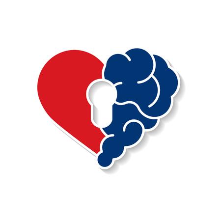 Sicurezza del blocco del cervello emotivo. Cuore spezzato e cervello con chiave hall vettore piatto moderno icona logo disegno vettoriale. Interazione tra la chiave dell'anima per l'intelligenza, le emozioni, la solitudine, il divorzio, la relazione interrotta, il pensiero razionale Logo
