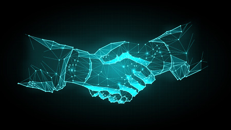 Abstract virtual Hand shake the circle interface on green cyberspace background with low-poly, polygon and triangle. Wireframe light connection structure vector Banco de Imagens