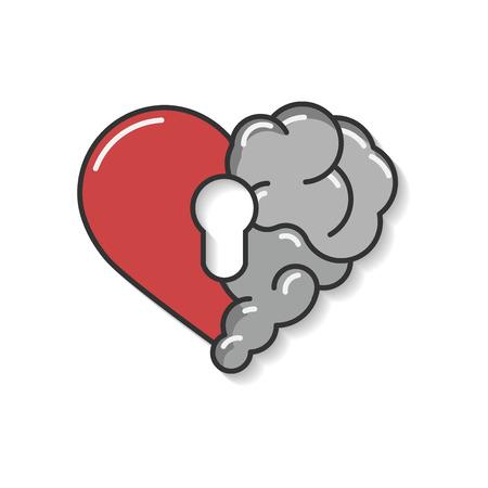 Emotional brain lock security. Broken Heart and Brain with key hall vector flat modern icon logo vector design. Interaction between soul key for intelligence, emotions, loneliness, divorce, broken rel 写真素材