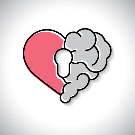 Sicurezza del blocco del cervello emotivo. Cuore spezzato e cervello con chiave hall vettore piatto moderno icona logo disegno vettoriale. Interazione tra la chiave dell'anima per l'intelligenza, le emozioni, la solitudine, il divorzio, la relazione interrotta, il pensiero razionale