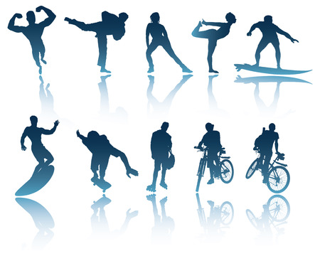 skateboarding: 10 Sports and Fitness silhouettes with shadows  reflections to use in your designs Illustration