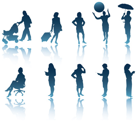 miss call: 10 modern business woman silhouettes with shadows  reflections to use in your designs. Illustration