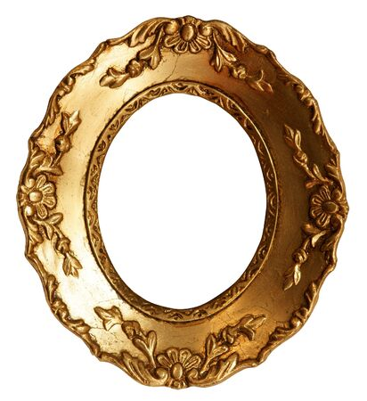 framed: Baroque Small Gold Mirror  Picture Frame with Ornaments to put your owns pictures on it. Stock Photo