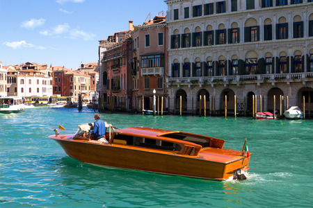 taxi: A specific water taxi on The Grand Canal in Venice.