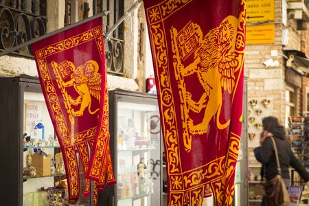 winged lion: Flag and emblem of the Venice with winged lion