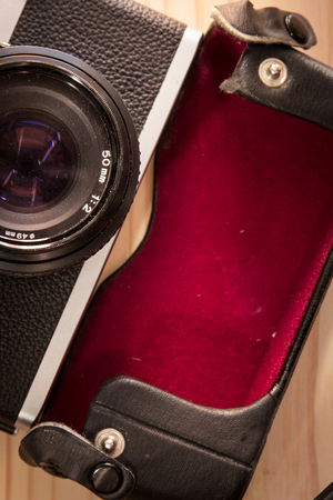 Retro vintage old photo camera 50 mm close-up photo