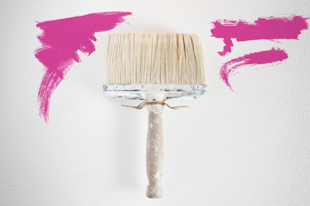 redecorate: Dirty wall brush Painting with magenta paint