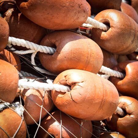 big cork: tangle of fishing nets with big Cork floats Stock Photo