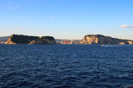Napoli: Detail of Golfo di Napoli (Naples Gulf) Cape Posillpo and Nisida Island