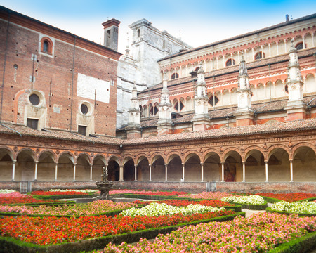 cloister: Cloister and flowers, Certosa di Pavia, Italy