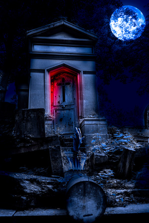 horror background: Cemetery Halloween background with graves and zombie hand
