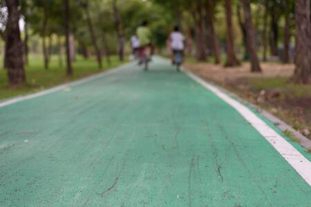 A green cycling lane in a shady park with a blurry background as people are riding a bicycle, copy space