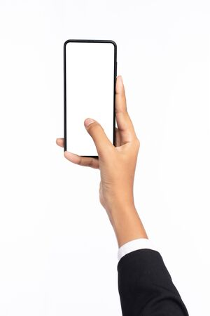 A hand of woman using a black color smartphone with white space for text isolated on white background
