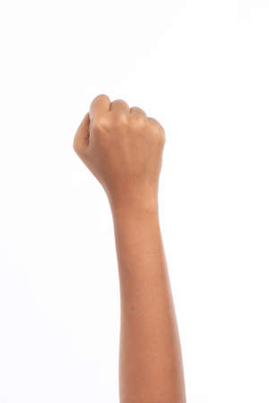 Hand of woman do a handful, fist, isolated on white background, black lives matter concept