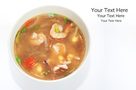 Tom Yum Kung Thai Food in a white bowl