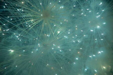 a picture of a beautiful firework in dark sky photo