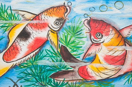 koi fish: chinese koi fish painting on wall in chinese temple Editorial