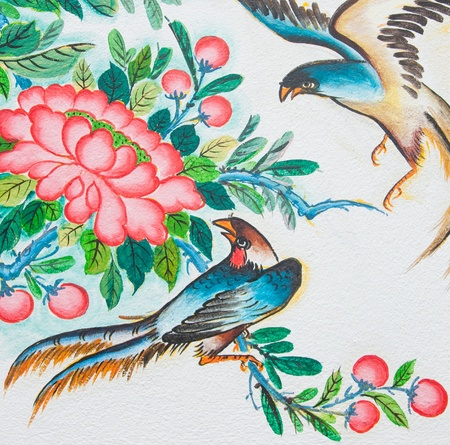 chinese birds painting on wall in chinese temple photo