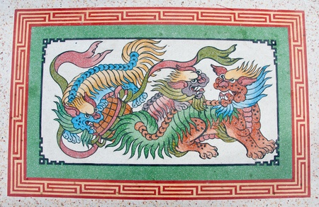 chinese dragon painting on wall in chinese temple