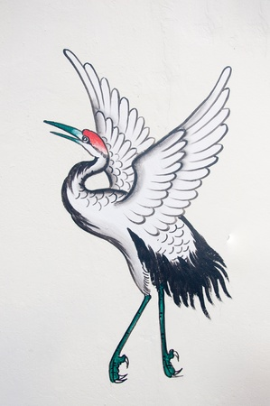 chinese heron painting on wall in chinese temple Stock Photo