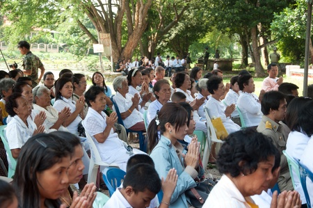 chant: YALA, THAILAND - OCTOBER 14: Unidentified yala senior buddhism women chant for ceremony in keeping Holy water ceremony on Oct 14, 2011 at Yala Cave Temple, Thailand