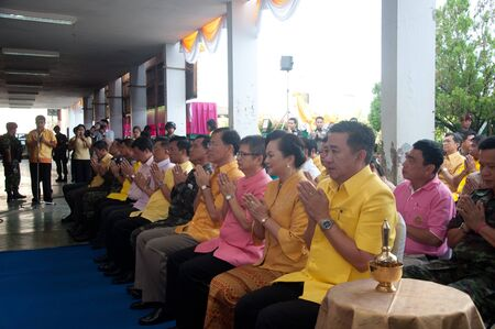 governor: YALA, THAILAND - DECEMBER 5:Mr.Wittaya Panichphong Province Deputy Governor chants in blessing ceremony for the H.M.K. Bhumibol Adulyadej Birthday on Dec 5, 2011 at Yala Youth Center, Thailand