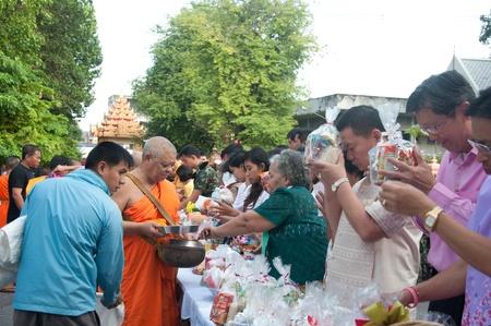 YALA, THAILAND - OCTOBER 22:Mr.Suchat Suwannakas prays for ceremony in blessing ceremony for H.M.K. Bhumibol Adulyadej Birthday ceremony on Oct 22, 2011 at Yala Puttaphum Temple, Thailand Stock Photo - 11653459
