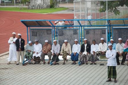 educacion fisica: YALA, Tailandia - 29 de octubre: los hombres no identificados Yala Musim asistir a la ceremonia en rezar a Al� isl�mico ceremonia de Dios el 23 de Oct de 2011 a las Yala Instituto de la educaci�n f�sica, Tailandia