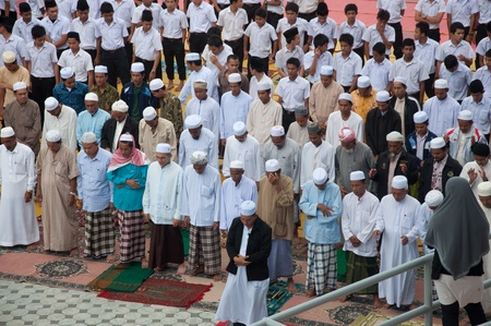 YALA, THAILAND - OCTOBER 29:Unidentified yala Musim men pray for Allah for ceremony in pray for Allah Islamic God ceremony on Oct 23, 2011 at Yala Institute of physical education, Thailand