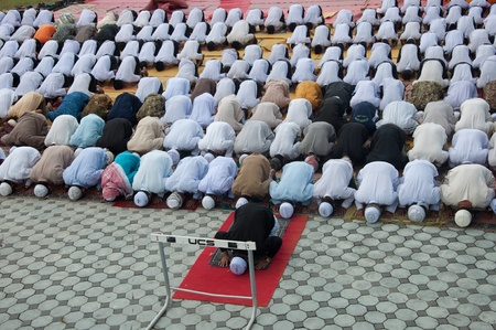 YALA, THAILAND - OCTOBER 29:Unidentified yala Musim men pray for Allah for ceremony in pray for Allah Islamic God ceremony on Oct 23, 2011 at Yala Institute of physical education, Thailand Stock Photo - 11653510