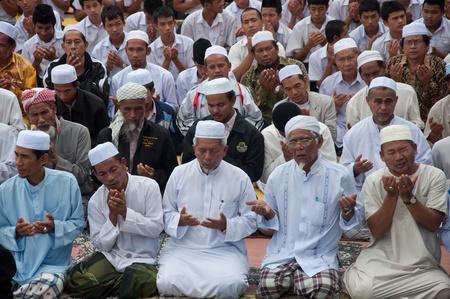 YALA, THAILAND - OCTOBER 29:Unidentified yala Musim senior men pray for Allah for ceremony in pray for Allah Islamic God ceremony on Oct 23, 2011 at Yala Institute of physical education, Thailand Stock Photo - 11653466