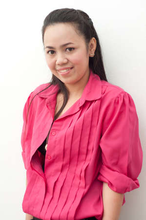 asian thai attractive woman in red shirt isolate on white Stock Photo - 11709901
