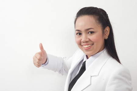 asian thai young business woman in white dress Stock Photo - 11669914