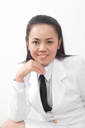 asian thai young business woman in white dress photo