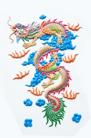 chinese dragon - stone carving isolate on white background photo