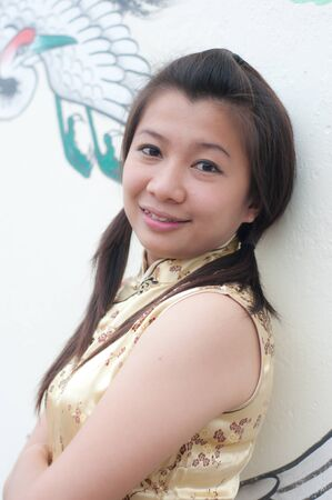 happy Chinese new year - beautiful young Asian woman photo