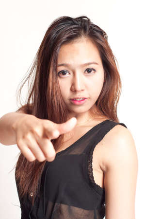 asian attractive woman - pointing finger photo
