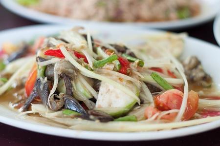 somtum: thai papaya fruit salad - somtum Stock Photo