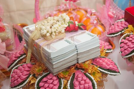 bride price money in thai wedding ceremony Stock Photo - 15717052