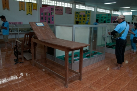 YALA, THAILAND-SEPTEMBER 22: Vintage wood patient bed Inside chinese museum on Sep 22, 2012 at Yala No.9 Chulaporn Development Village, Thailand Stock Photo - 16284894