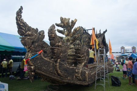 YALA, THAILAND - OCTOBER 31: Beautiful Buddhism Ship show for buddhism people to give donation for temple in Buddhist day